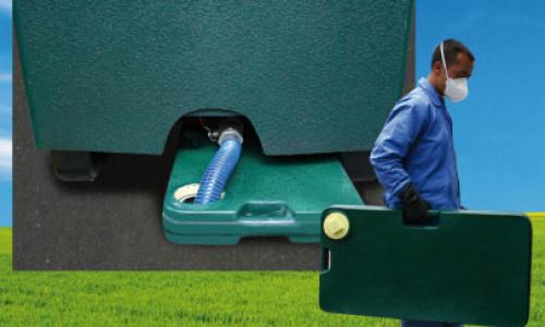 Equipo de evacuación por gravedad a tanque portátil o maletín
